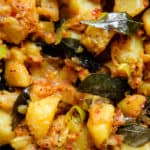 Sri Lankan spicy dry potato curry- a vegetarian, vegan curry with tempered onions, curry leaves and just enough chilli, a tasty dish to add to your rice and curry menu-islandsmile.org