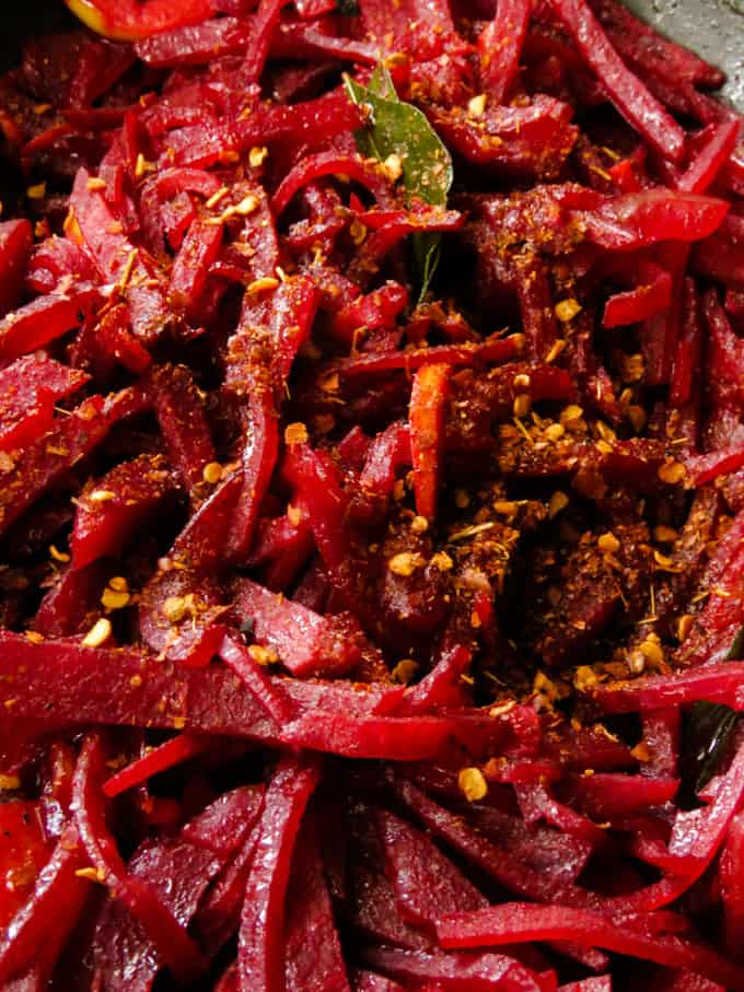 beetroot curry with a little chilli flakes.