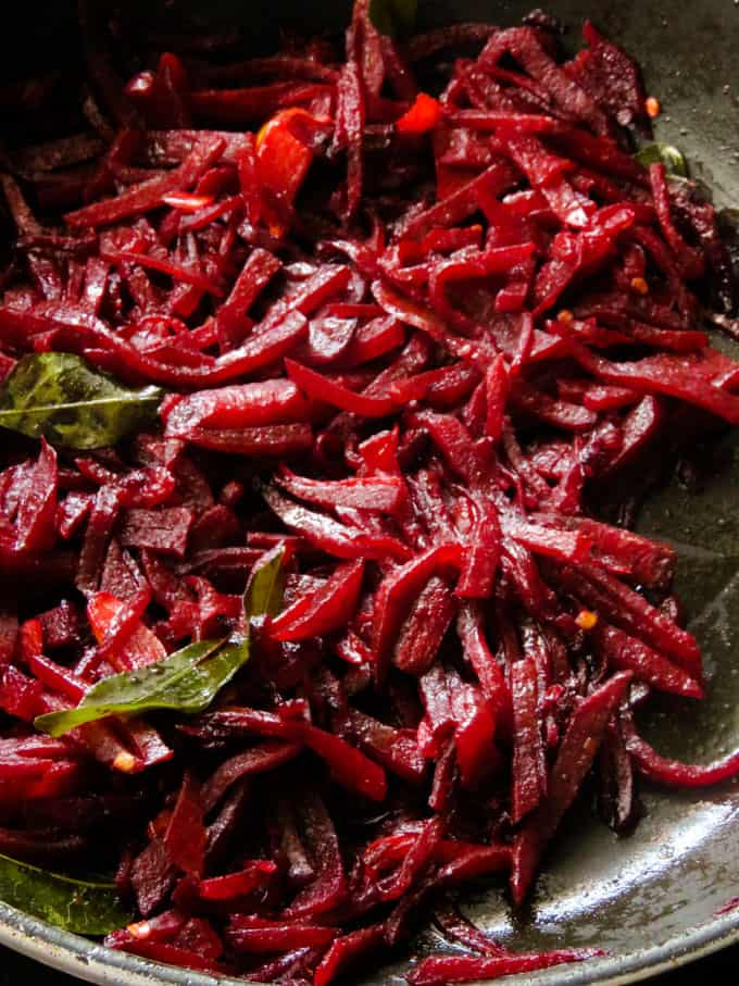 stirfried- sri lankan beetroot curry.