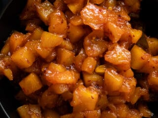 cooked pineapple chutney in a bowl