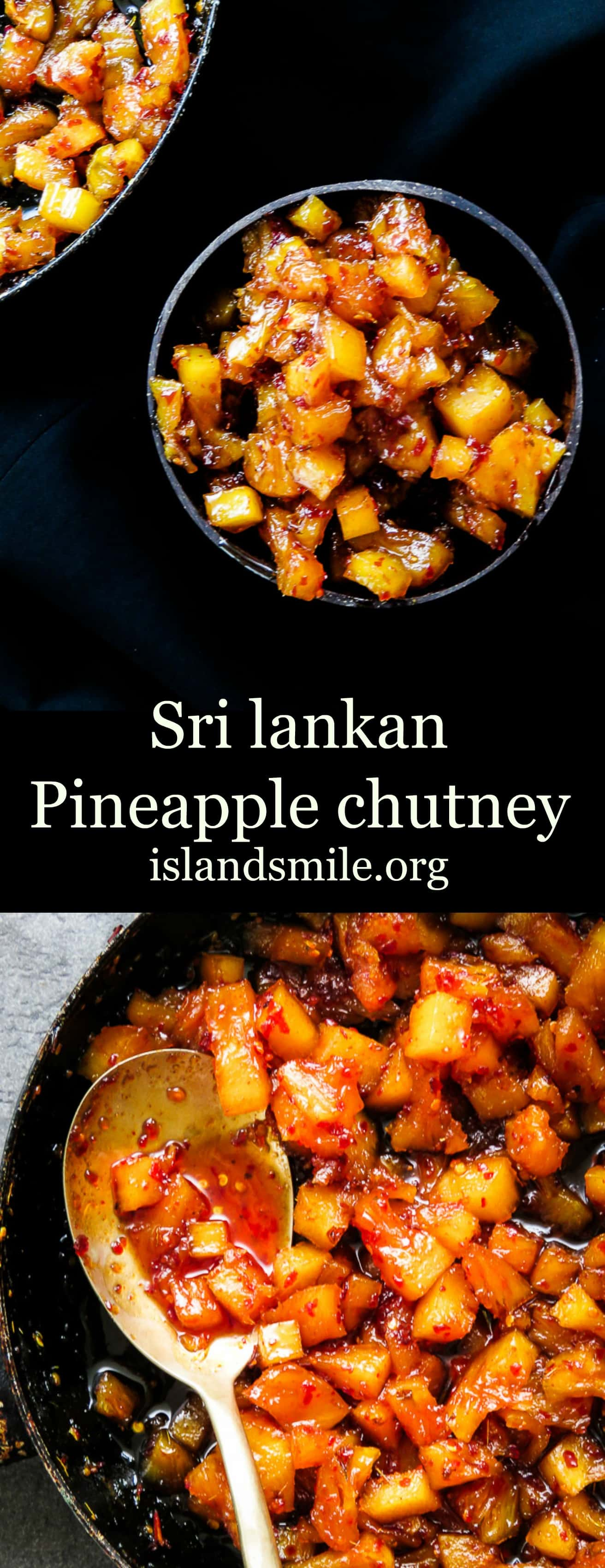 A sweet and spicy pineapple chutney. having a bottle of homemade pineapple chutney on the table with your rice and curry makes meal times easy with fussy kids and adults as well.