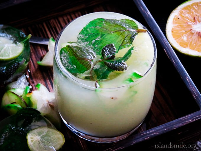 chilled star fruit juice with orange,lime or lemonade with a hint of mint