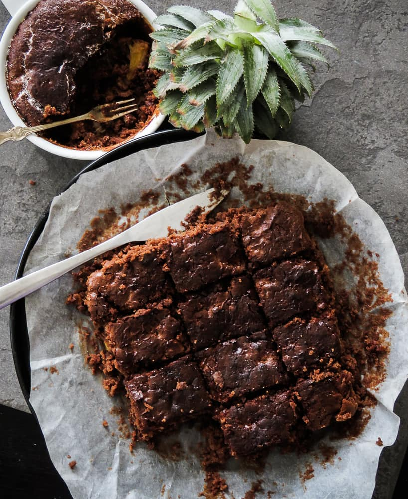 Pineapple, just add slices of Pineapple and you've got yourself a tropical, double dose of chocolate and a brownie cake