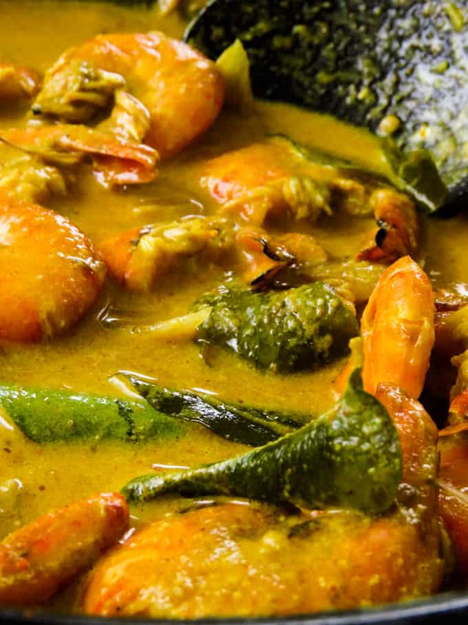 cooked prawn curry with coconut milk.