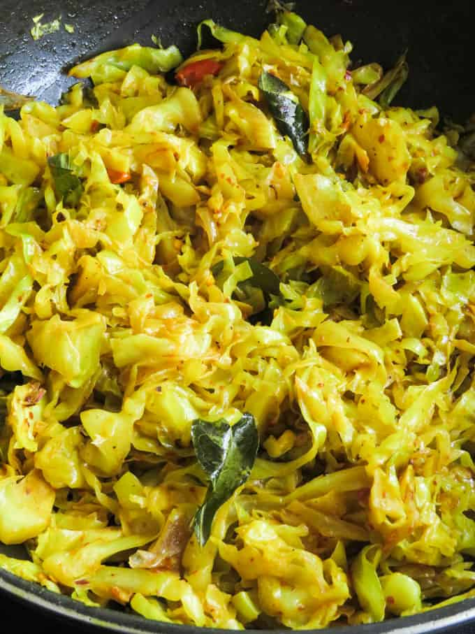 fried cabbage made the Sri Lankan way.