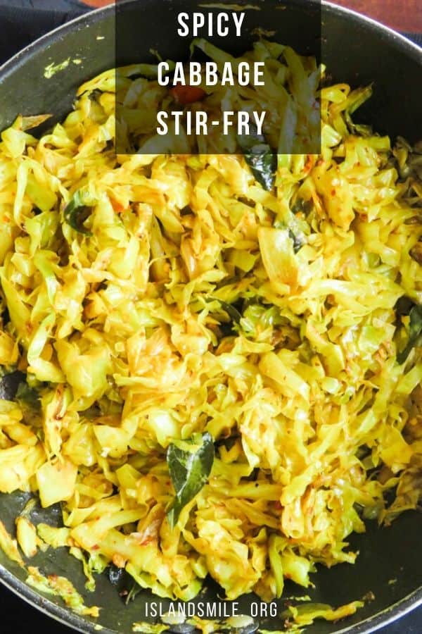 Spicy chilli cabbage stir-fry. A Sri Lankan, vegetarian cabbage recipe that takes less than 20-minute to cook. You'll want to try this cabbage stir-fry as it only takes just 5 ingredients so make sure to grab one of these leafy vegetables when you spot them at the farmers market.