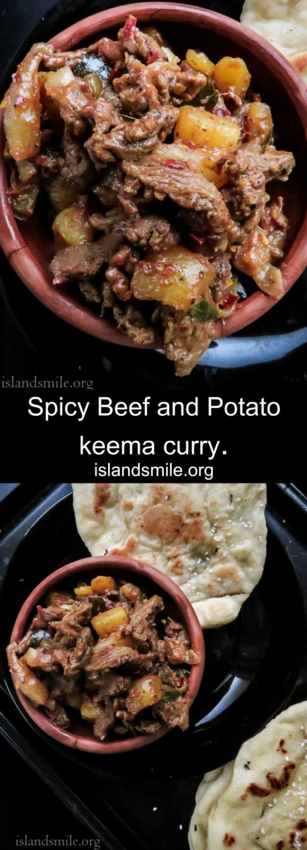 Sri Lankan spicy beef and potato keema curry. It makes a great filling for samosas, empanadas and meaty side-dish for your bread, parathas and naan. With Sri Lankan spices this shredded beef dish is a must try