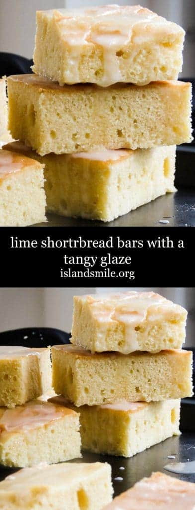Iced lime shortbread bars image