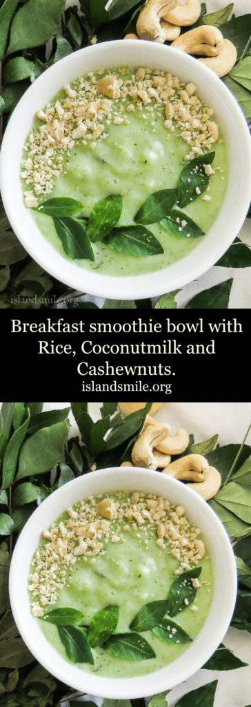 Breakfast smoothie bowl with rice, coconutmilk and cashewnuts