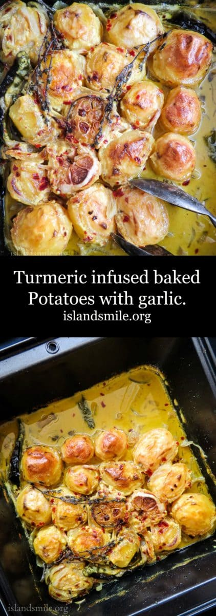 Oven roasted Turmeric and garlic potatoes crispy on the outside, soft on the inside with flavors of garlic. All the goodness of a vegetarian,  vegan and Gluten-free dish in a one-pot meal