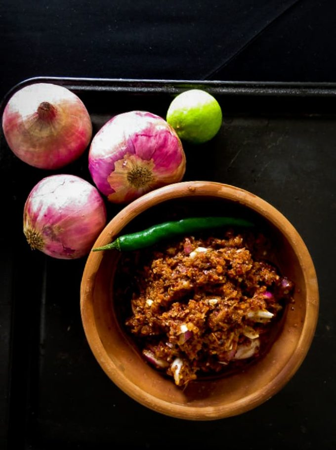 Lunumiris, a spicy condiment made up of dried red chillies, Onions and Maldive fish. It's a must have to enjoy a good home cooked Sri Lankan Breakfast-islandsmile.org
