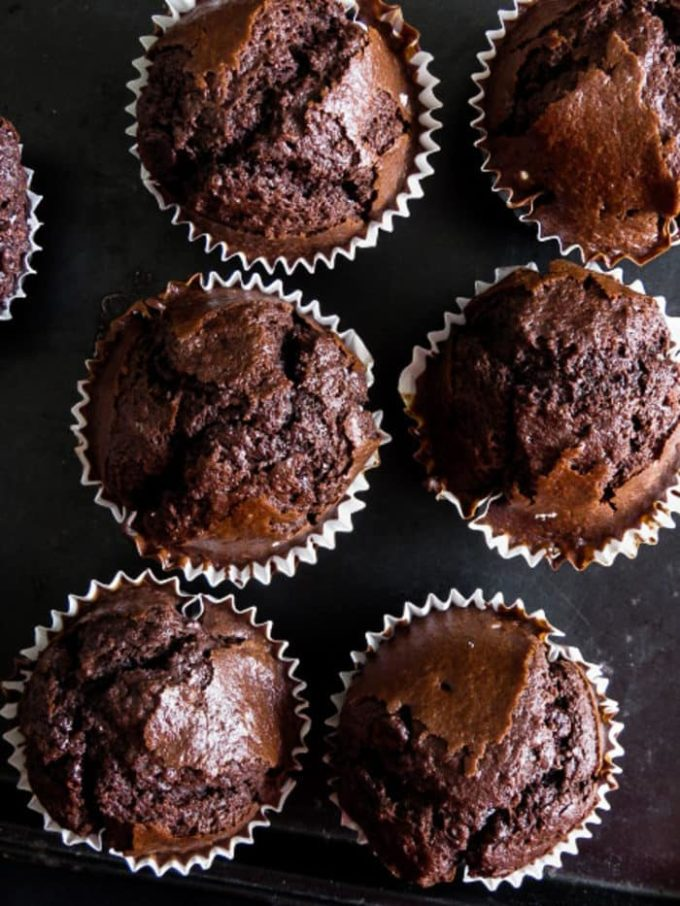 Chocolate,chocolate Breakfast muffins are airy and a chocolate lover's dream of what Breakfast should look like