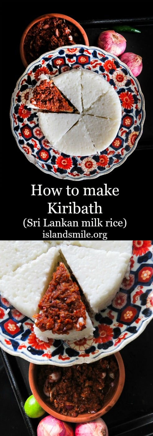 Your first experience in Sri Lankan food should begin with Kiribath(milk rice). It's an easy breakfast dish you can make with two main ingredients, usher in the new year or celebrate a memorable occasion with this special dish. #kiribath #sriLankan #milkrice #rice #breakfast.