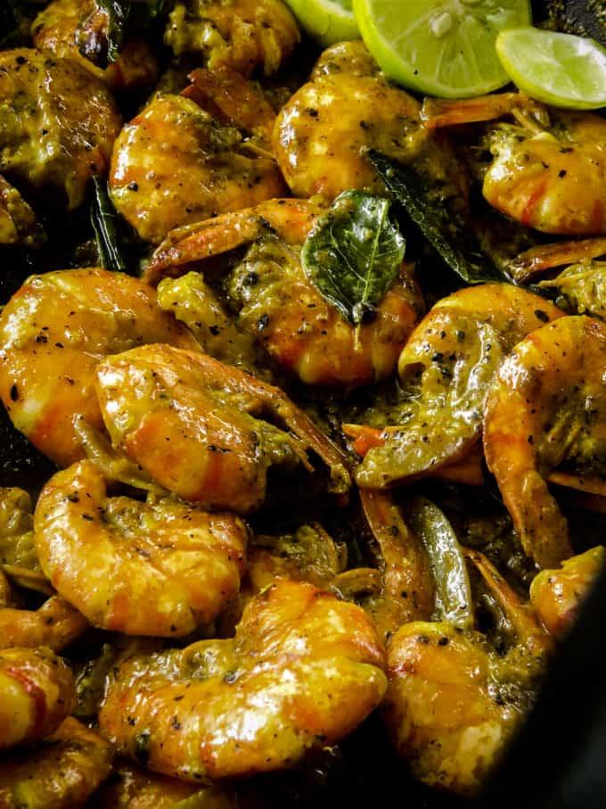 black pepper prawns(shrimp)loaded into a bowl.