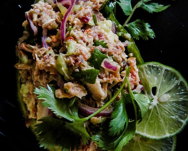 Raw Avocado Tuna salad with Onion and cilantro-islandsmile.org