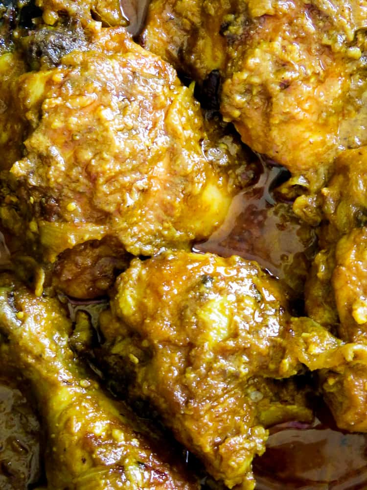 Hyderabadi chicken korma.  A chicken korma recipe from the Hyderabadi region. It's one of the popular Indian chicken curry recipes you'll want to taste. Made with a peanut-sesame gravy base, this Indian curry makes a perfect one-pot meal to share with friends and loved ones.