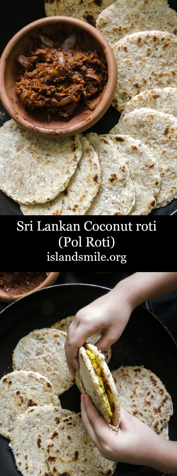 Sri Lankan Coconut roti(pol roti, flatbread). A rustic flatbread made up of flour, grated coconut with diced green chillies and Onions for extra texture. vegan, vegetarian, Sri Lankan breakfast #srilankan #roti #coconut #breakfast