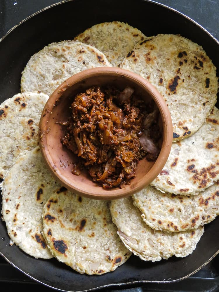 Sri Lankan Coconut roti(pol roti)- a rustic flatbread made up of flour, grated coconut with diced green chillies and Onions for extra texture. vegan, vegetarian, breakfast