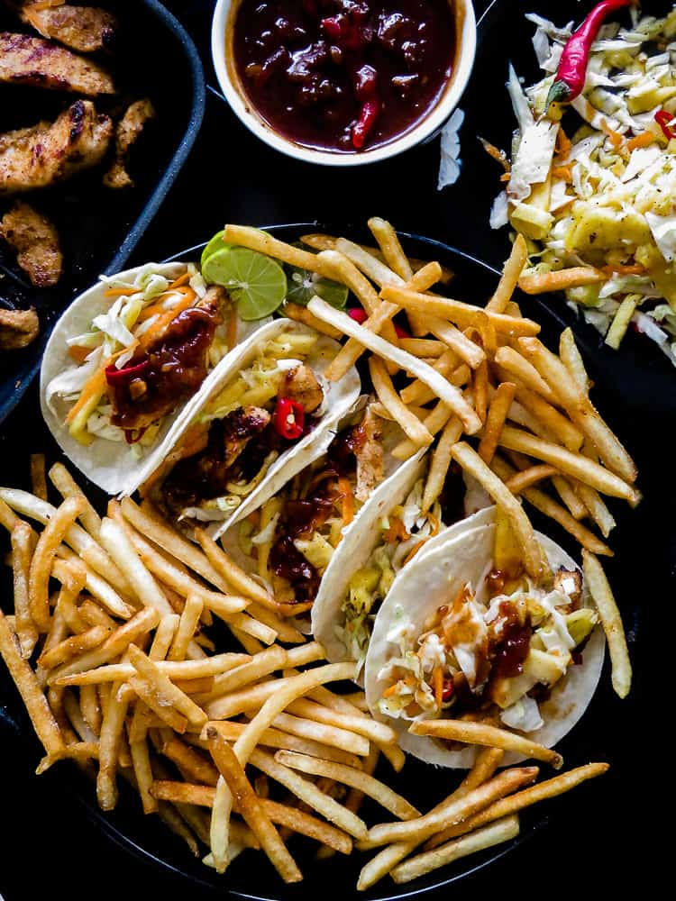 yoghurt marinated grilled chicken tacos with pineapple cabbage slaw-islandsmile.org-