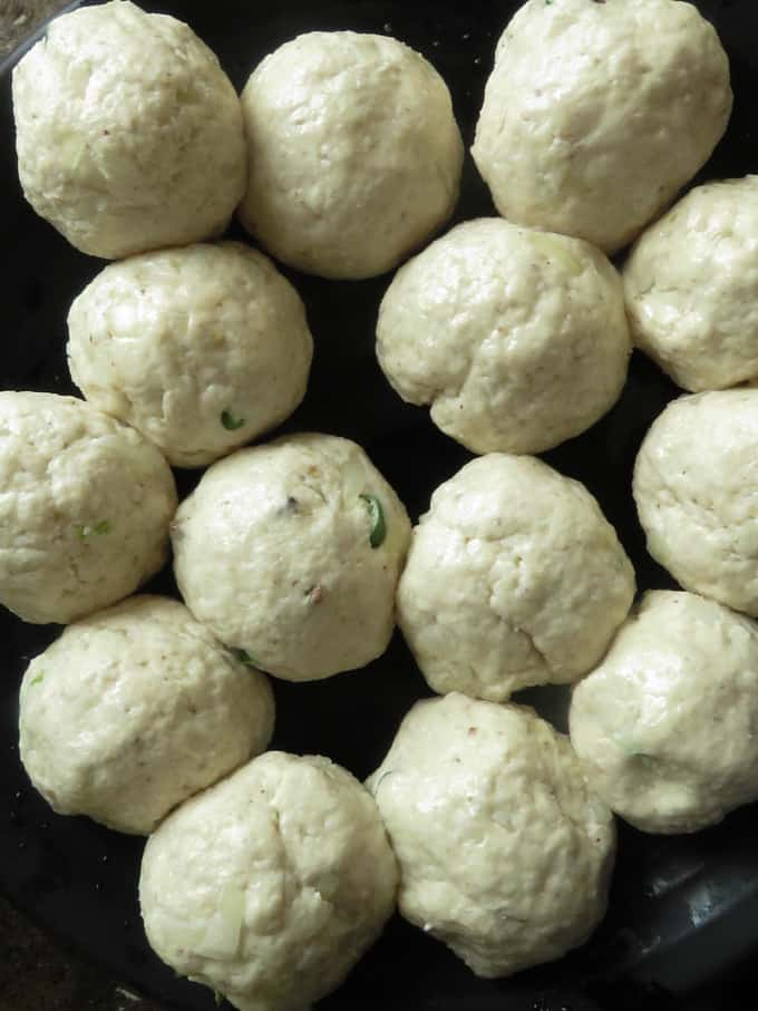making the small dough balls.
