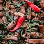kankun(kangkong), soy, garlic Beef stir-fry-islandsmile.org