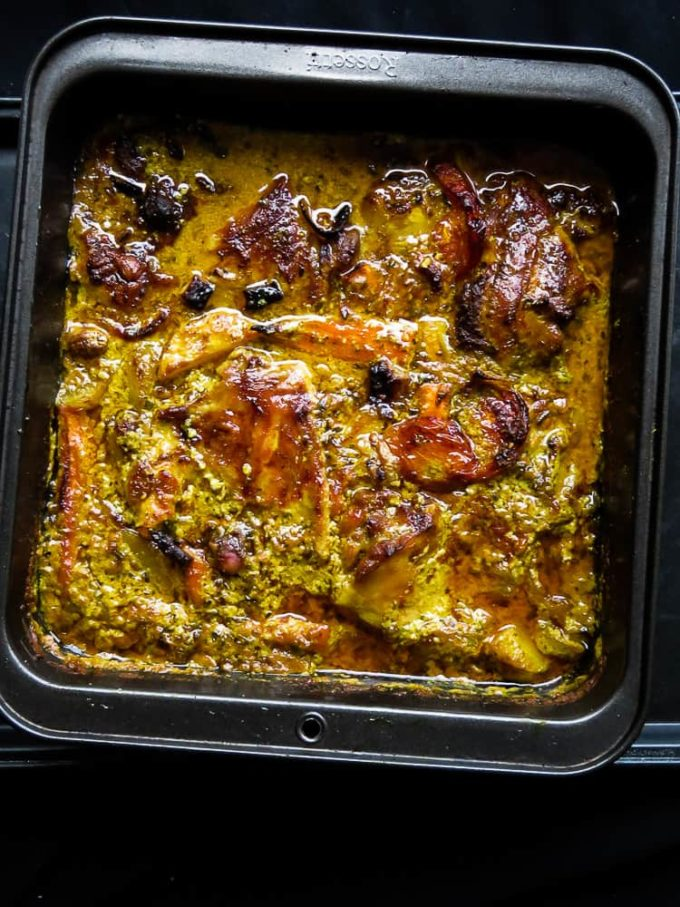 baked-one pot lemongrass chicken curry. succulent lemongrass-infused chicken curry to feed a family of six or more.