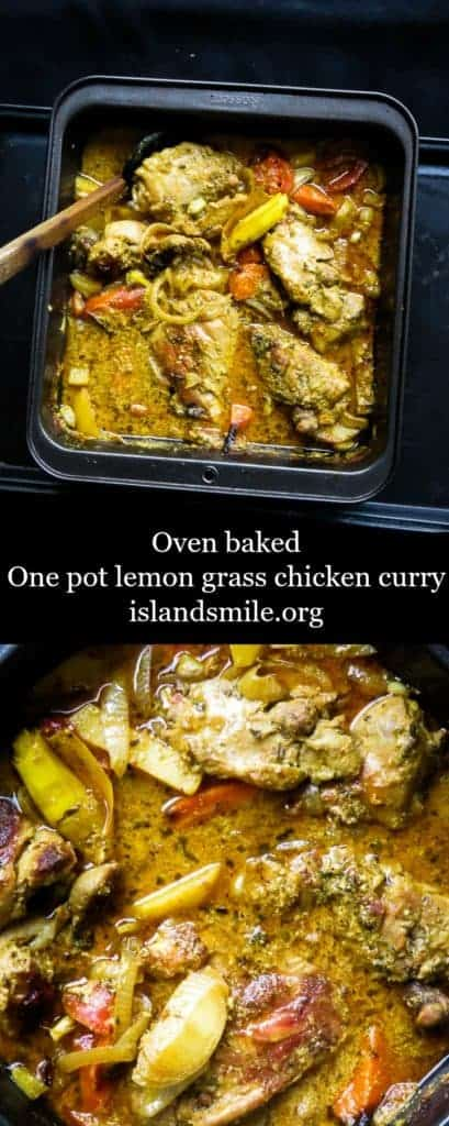 baked-one pot lemongrass chicken curry. succulent lemongrass-infused chicken curry to feed a family of six or more.  You can either make it as a very dry bake or have loads of gravy to go around for a crowd with extra root vegetables as an option.