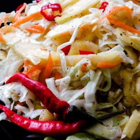 Pineapple-cabbage coleslaw- a spicy tropical coleslaw you can munch on as a side dish or use as a topping for your burgers and tacos.