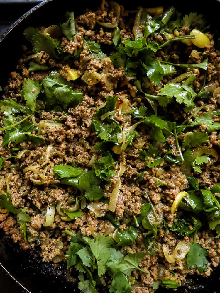 Coriander- garlic minced Beef keema curry-islandsmile.org