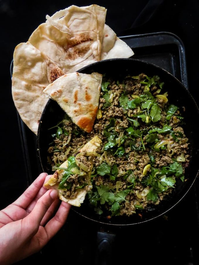 Beef keema curry, a skillet dish that makes meals easy. made with curried meat and extra garlic and coriander this Indian themed dish can be served with store-bought Pita or naan bread.