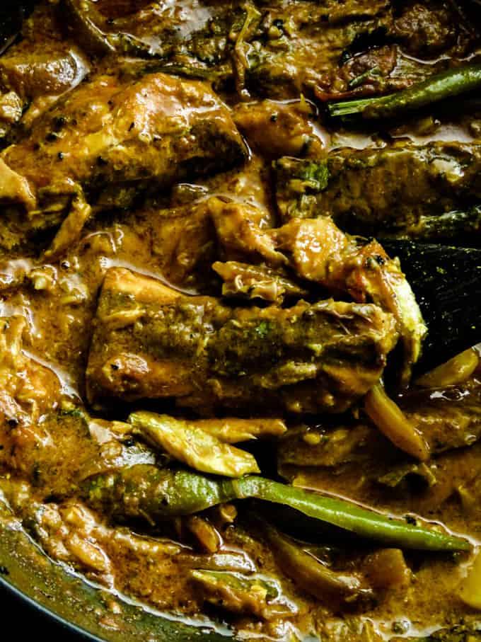 sri lankan canned fish curry using coconut milk.
