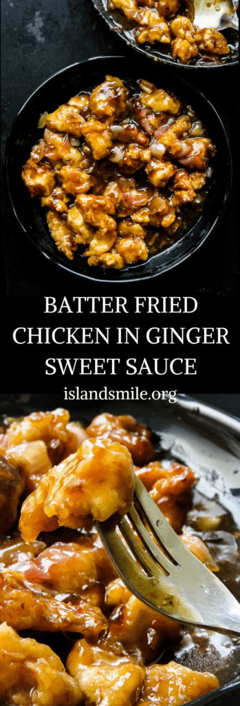 Asian batter fried chicken in a ginger sweet sauce. family of five or two, this popular Chinese take-out meal is definitely a dish for you to enjoy.