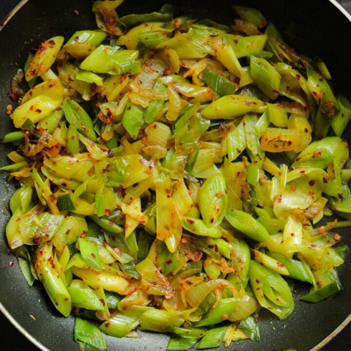 Sri Lankan chilli leeks fry(vegetarian, vegan).