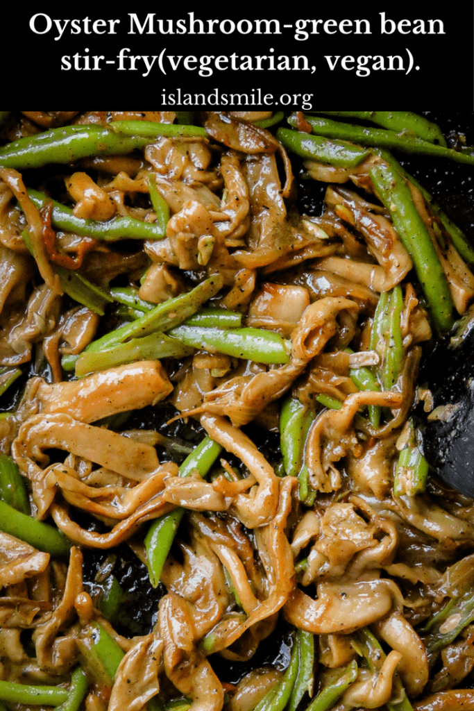 Mushroom-green bean stir-fry. Oyster mushrooms, frozen or fresh green beans, a few ingredients and you can make this ridiculously easy stir-fry. Grab a frying pan and let's get to making this mushroom and bean fry.