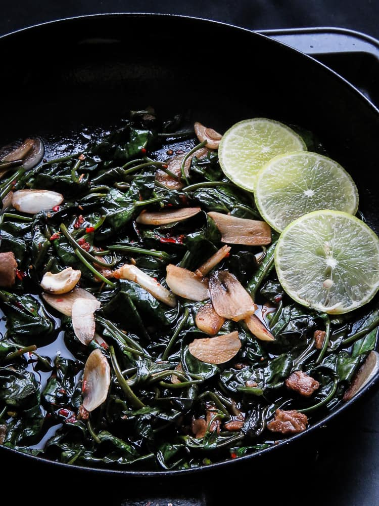 Easy garlic kankung(water spinach)stir-fry with garlic-islandsmile.org