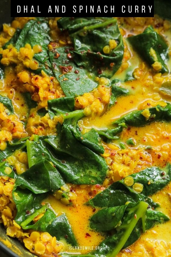 A creamy spinach dhal recipe cooked Sri Lankan style.  Dhal and spinach is another popular quick vegetarian curry you can try for a healthier meal plan.