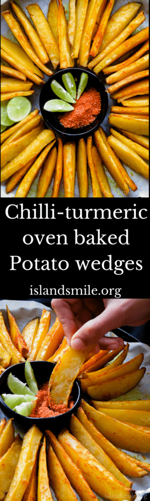 Crispy Oven-baked Potato wedges mixed with red chilli powder and turmeric. Crunchy on the outside, soft on the inside and spiced up with turmeric, chilli powder is how I'll describe these oven-baked potato wedges. Get ready to make a platter of spicy potato wedges with just 5-ingredients that you can find in your kitchen pantry.#snacks #vegan #vegetarian  #potato #fries #5ingredient
