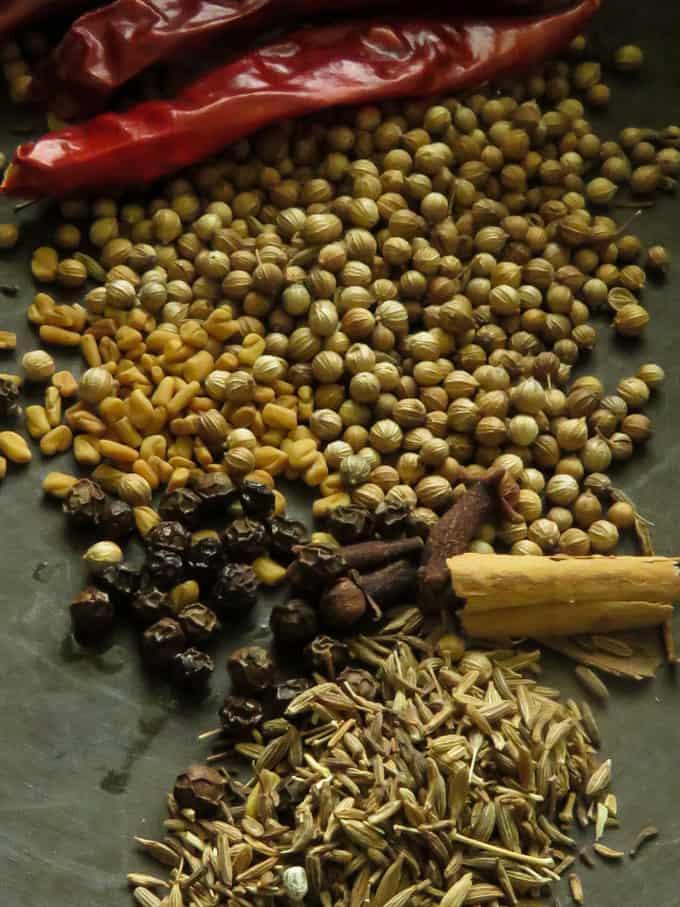 add the dry spices, chillies,coriander,fenugreek, cumin, cloves, cinnamon. dry roast them.