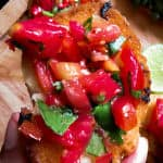 Spicy tomato-red chilli, coriander bruchetta