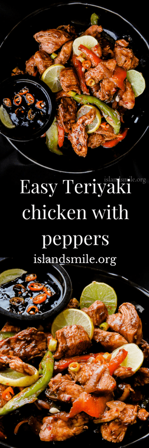 teriyaki chicken with onion and peppers. Add a few more of your favourite vegetables, give it a good toss, a bowl of rice on the side. your quick weekend meal is ready.