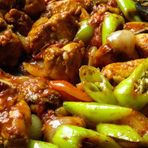 Sri Lankan devilled chilli chicken stir-fry.