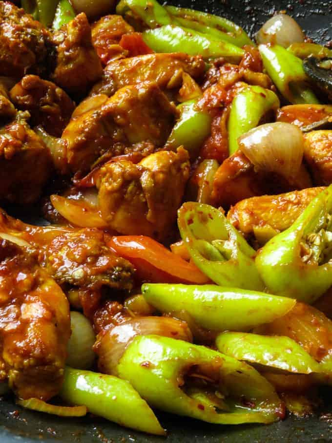 Sri Lankan devilled chilli chicken stir-fry.
