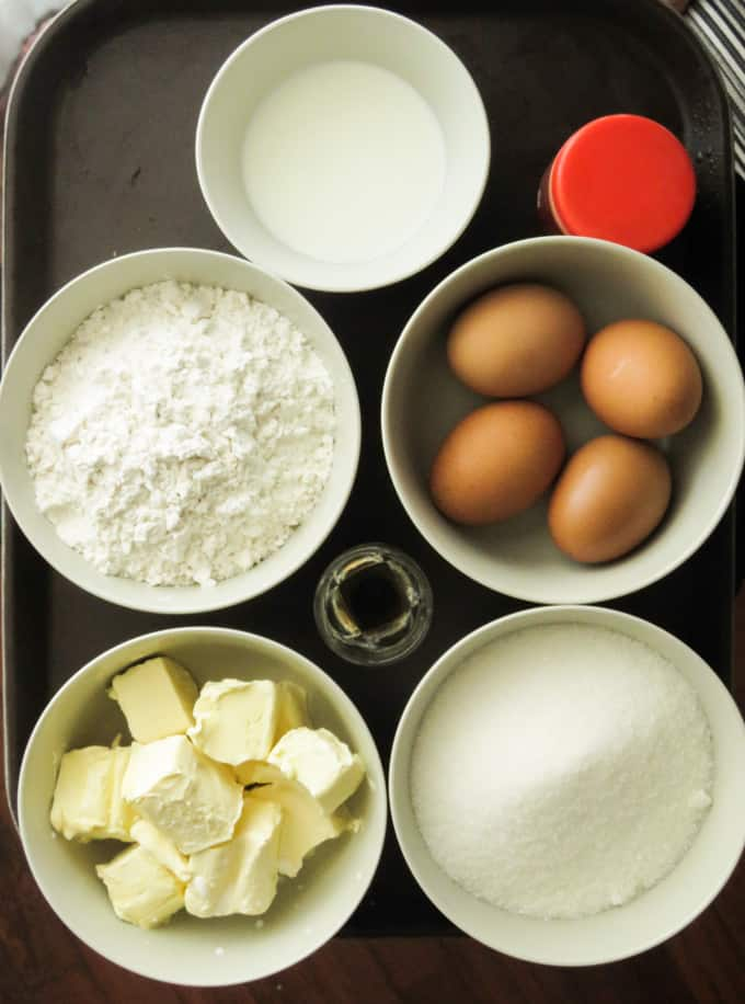 ingredients for butter cake.