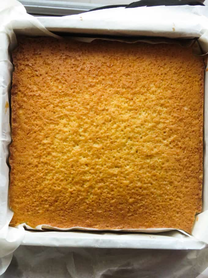 baked butter cake in an oven tray.