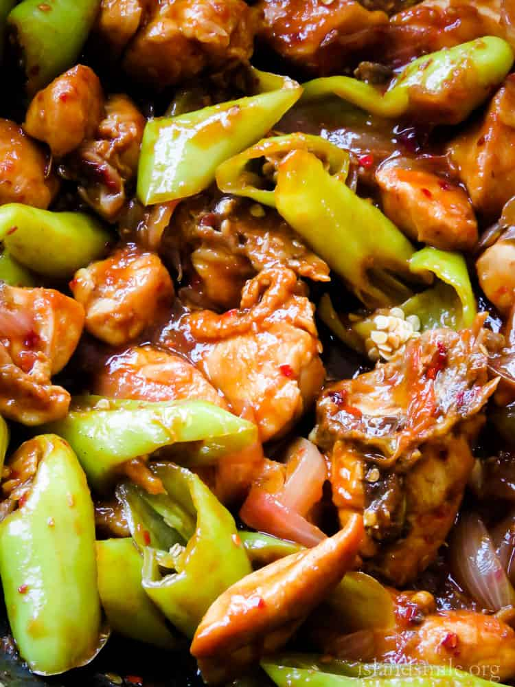 Sri  Lankan devilled chilli chicken stir-fry,