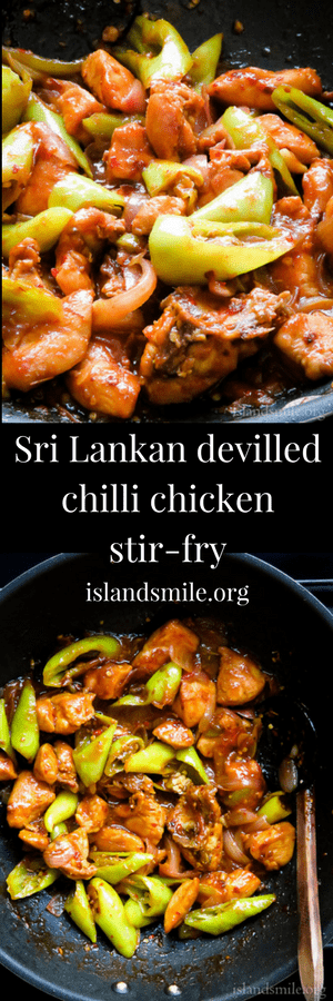 Sri  Lankan devilled chilli chicken stir-fry, most restaurants serve this dish with their set menus. why spend money when you can make it at home?. #chicken #srilankan #spicy #devilled