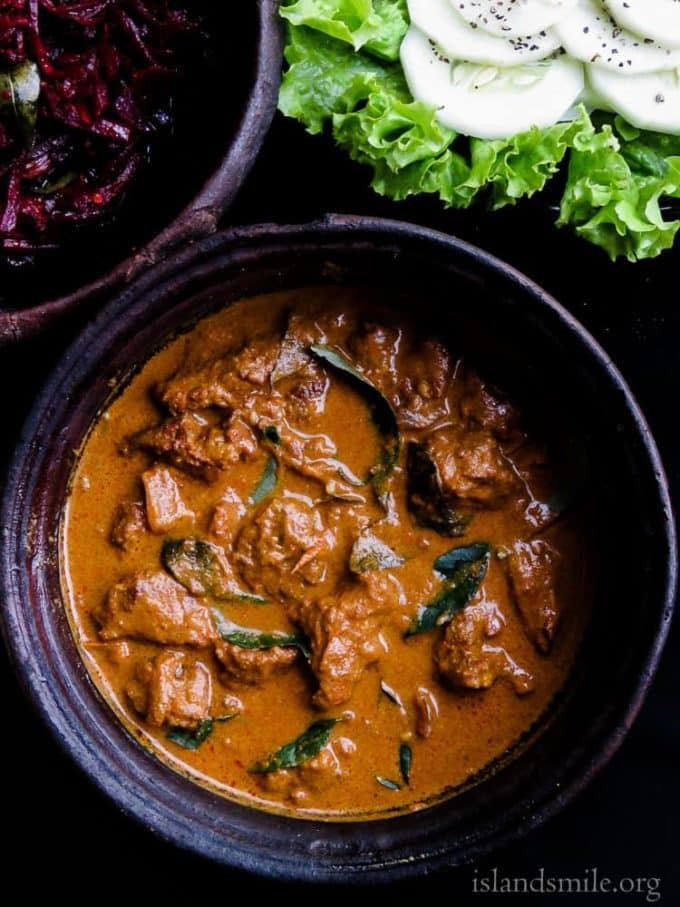 Slow cooked Sri Lankan beef curry. This recipe handed down by my grandmother.  An authentic Sri Lankan Moorish-style beef curry.