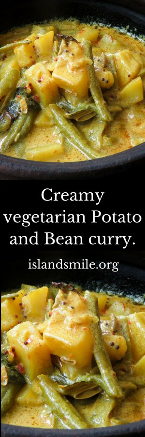 Creamy potato-bean curry. a Sri Lankan vegetarian dish you can use for your meals. A vegetable curry cooked in coconut milk. gluten-free, vegan.