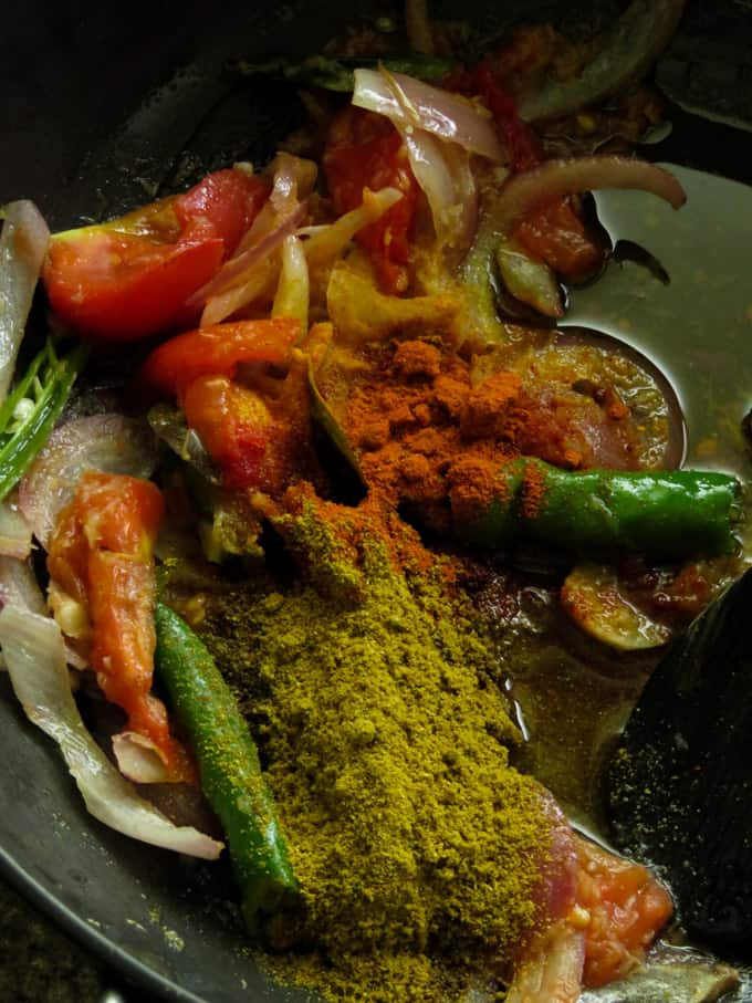curry powder to make spice paste.
