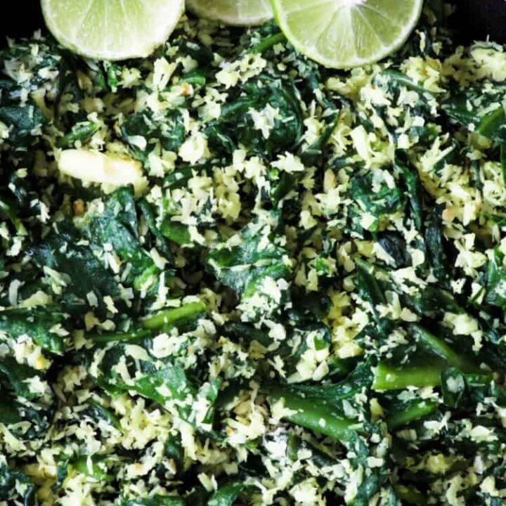 spinach and coconut mallung(no oi stir-fryl)-islandsmile.o